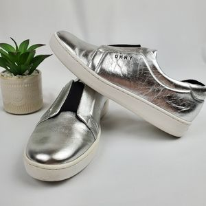 {DKNY} Silver Bobbi Slip On Low Top Sneaker